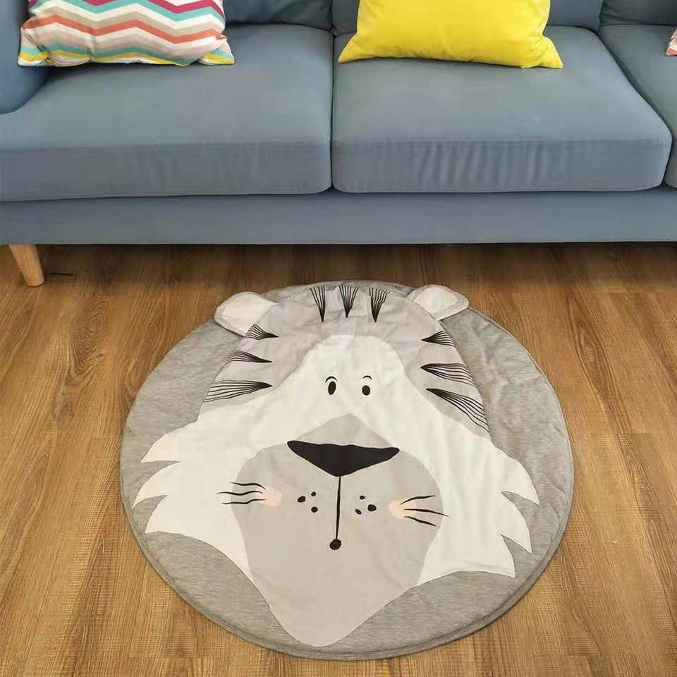 Hb1dc06c712594a4d903f532ec9a8af49h Ins Cartoon Baby Play Mats Pad Toddler Kids Crawling Blanket Round Carpet Rug Toys Mat For Children Room Decor Photo Props