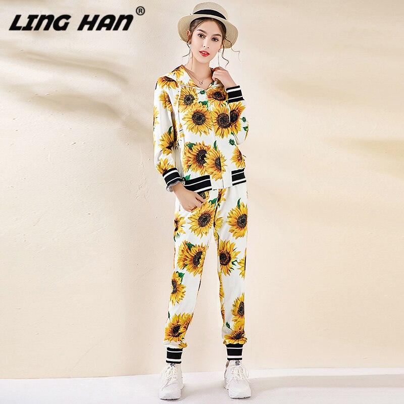 LINGHAN Designer Women Autumn 2 Piece Set Flower Print Hooded Top + Elastic Waist Pants Fashion Suit Twinset Female New