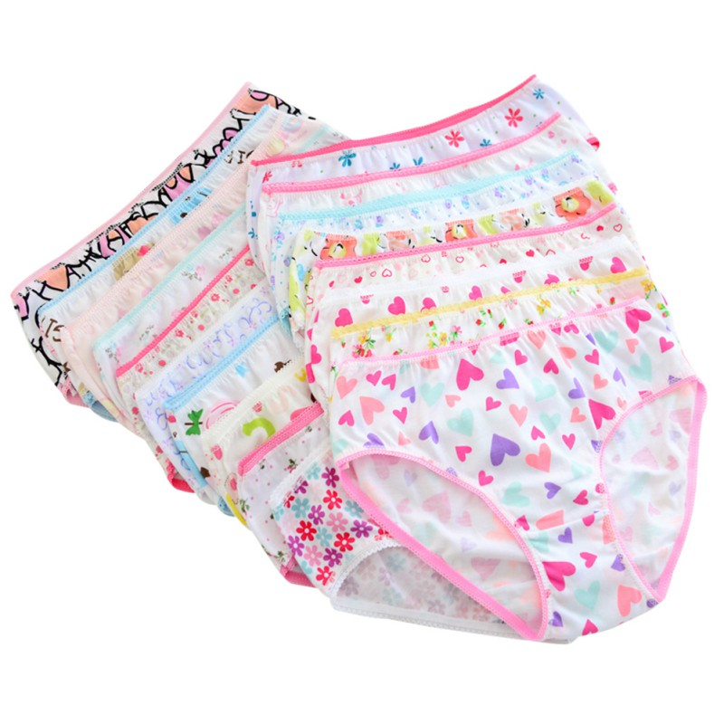 6pcs/pack Random Colors Baby Kids 2-10Y Girls Cotton Underwear Cute Casual Comfortable Floral Printed High Quality Panties