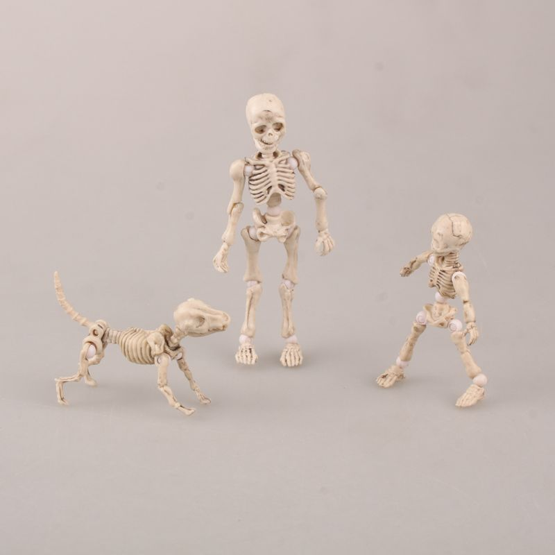 3-8 cm three Cute Fashion Design Mr. Bones <font><b>Pose</b></font> <font><b>Skeleton</b></font> Model with Dog Table Desk Book Mini Figure kids Toys Collectible Gift image