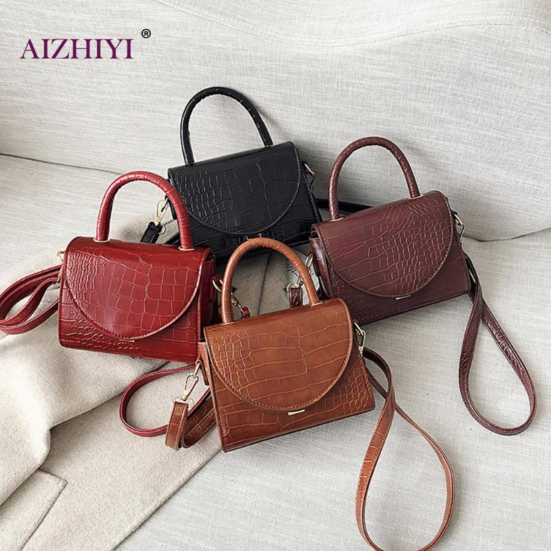 Lady Elegant Retro Crocodile PU Leather Crossbody Top-handle Bag Women Casual Solid Color Wide Shoulder Messenger Handbag