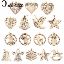 Obedience Wooden retro DIY Christmas Pendant tree decoration party small pendant gift 3pcs
