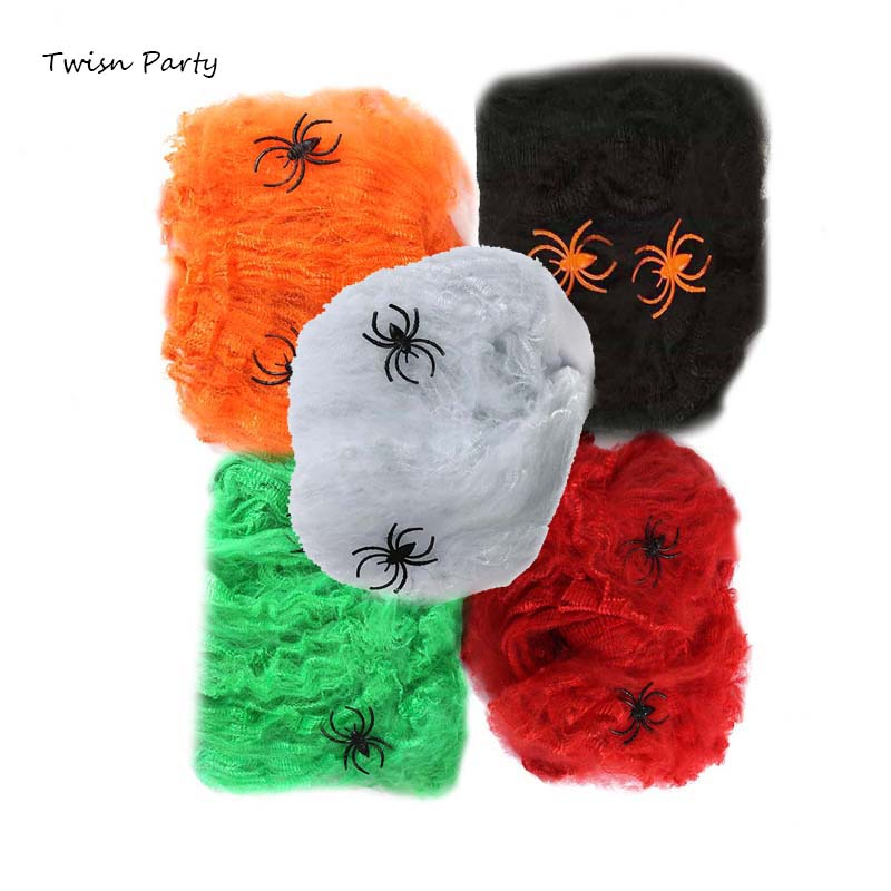 Twins Party Halloween Decorative Spider Mesh with 2 Spiders Scary Scene Props Stretchy Web