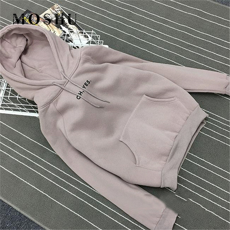 Hoodies Sweatshirt Women Oh Yes Letter Print Pullover Female Loose Fleece Harajuku Streetwear Thick Autumn Winter Sweatshirts