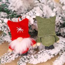 Lovely Christmas Velvet Pendant Knitting Faceless Santa Claus Collectible Doll Xmas Tree Ornament Home Garden Decoration