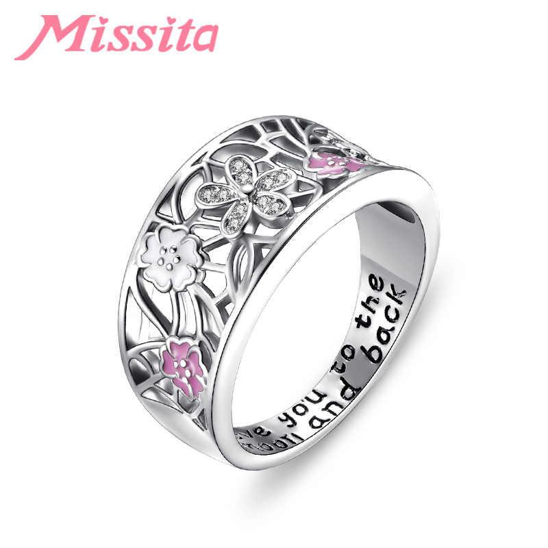 MISSITA 2019 جديد زهرة سلسلة زهر الكرز خواتم للنساء المشاركة خواتم الزفاف هدية مجوهرات Anillos Mujer