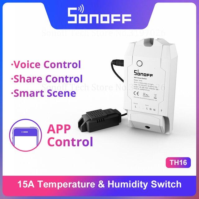 Itead Sonoff TH16 Wifi חכם אלחוטי מתג תמיכה טמפרטורה ולחות ניטור באמצעות AM2301 עובד עם Alexa Google בית