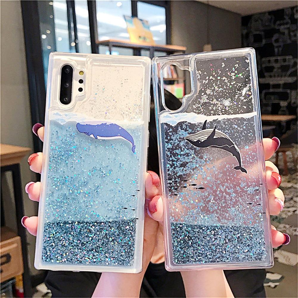 Glittering Sand Phone Case for Huawei P20 P30 Mate 20 Lite Pro Nova 2S 3 3i 3e 5 5i 4 Black Dolphin Blue Whale Case Back Cover