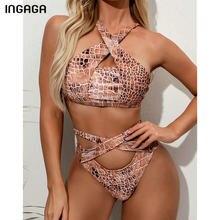 INGAGA-Bikinis de cintura alta con Push-Up para mujer, traje de baño del 2021, conjunto de Bikini de vendaje cruzado, Bikini recortado, trajes de baño de serpiente
