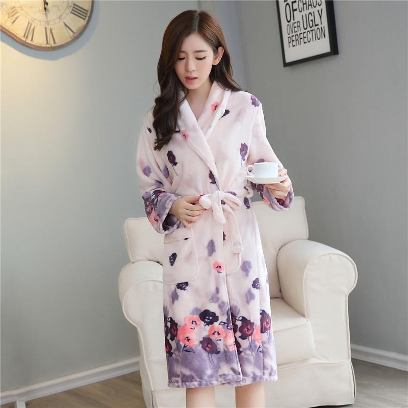 Winter Thick Warm Long Robe Gown Female Flannel Kimono Bathrobe Soft Ladys Sleepwear Home Clothes Casual Nightdress