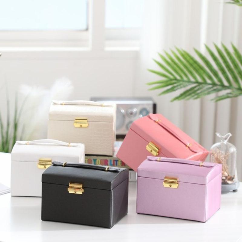 Boîte à bijoux de grande capacité, boîte de rangement à bijoux de type tiroir multicouche, boîte portable en cuir pour boucles d'oreilles de princesse, nouvelle collection