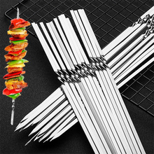 Skewers for Barbecue Reusable Grill Stainless Steel Skewers Shish Kebab BBQ Camping Flat