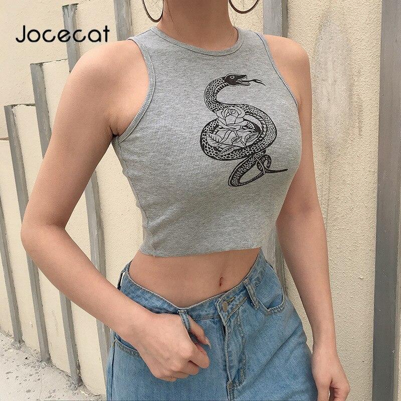 Padrão de cobra sexy feminina bralette colheita topo sem mangas moda 2020 verão quente magro festa tanque tops activewear