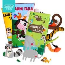 Beiens livre pour bébés, jouets éducatifs, jouets silencieux, Montessori, livre en tissu Animal avec queues, hochet cadeau, 3 pièces