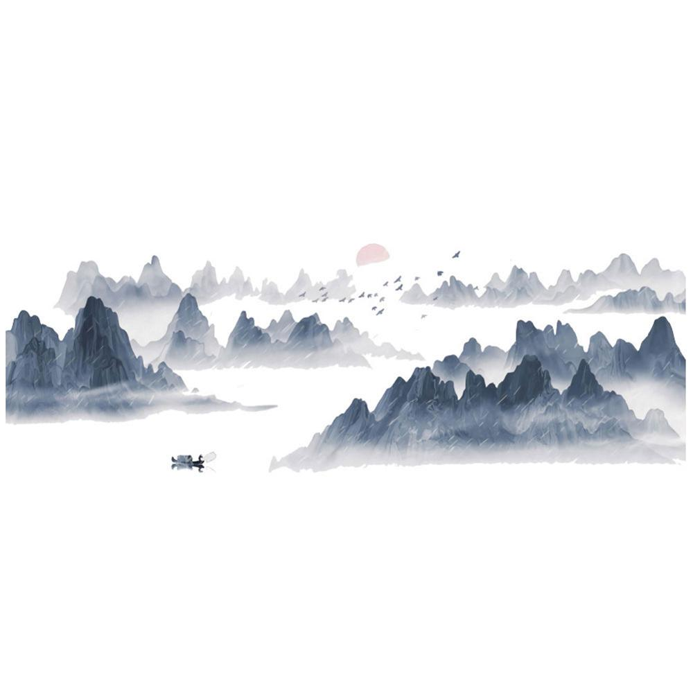 Chinese Style Sunset Landscape Wall Sticker High-grade Wallpaper Living Room Bedroom Mural Background Home Decoration Stickers