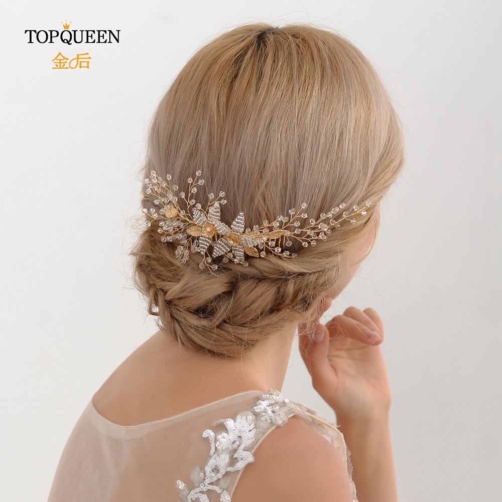 TOPQUEEN Vintage Hair Comb Gold  Hairpiece Wedding Hair Clip Bridal Hairpiece Silver Beads Wedding Hair Accessories HP54