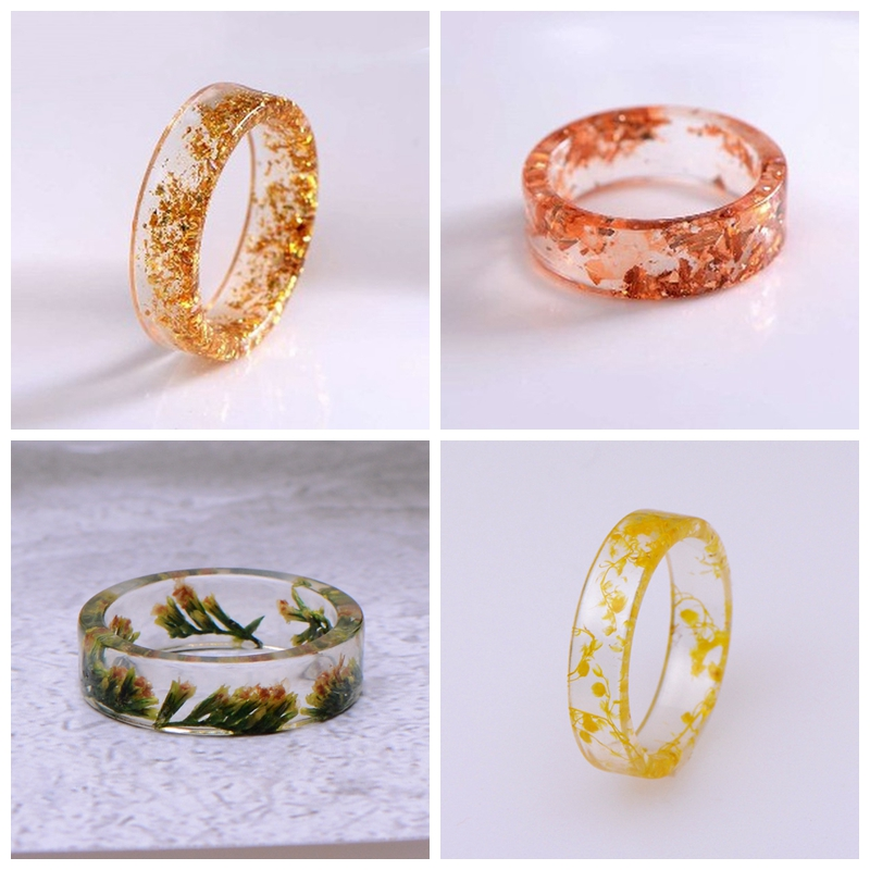 Resin Rings Jewelry Romantic Transparent Handmade Women Cute New-Fashion Party For Dried