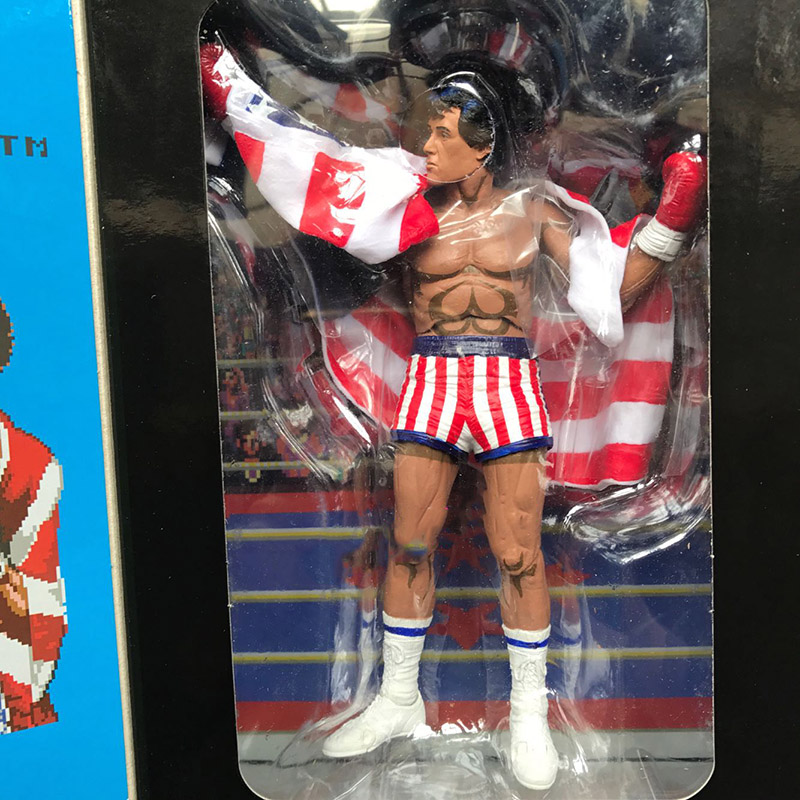 18cm Classic Sylvester NECA Rocky 7 Inches Anime Version Wearable American Action Figure Doll Collections Show Model