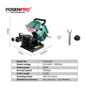 "Image 2 - POSENPRO 220W 100mm 4"" Inches Power Chain Saw Sharpener Grinder Machine Garden Tools Portable Electric Chainsaw Sharpener"