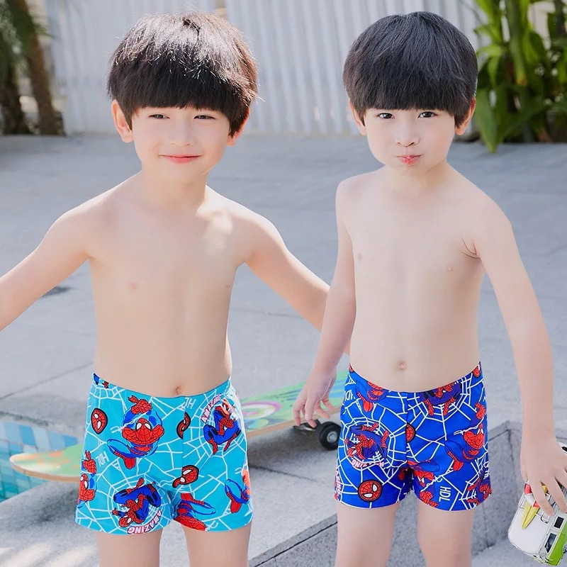 New Style Spider-Man Cartoon Children Children Swimming Trunks Swimwear Boy Baby CHILDREN'S Swimming Suit Swimming Cap Set