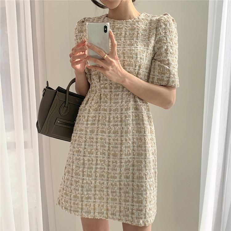 High Waist Casual Puff Sleeve Plaid Elegant Vintage Mini Dress 4