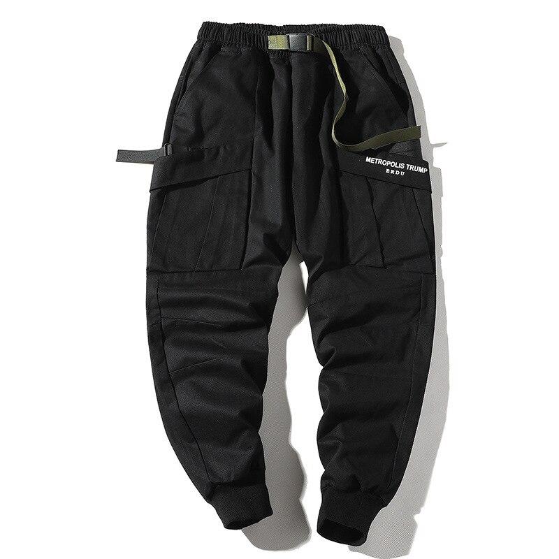 Fashion Men Cargo Pants Slim Fit Urban Style Hip Hop Patchwork Pocket Trousers Cuffed Joggers Pants For Men
