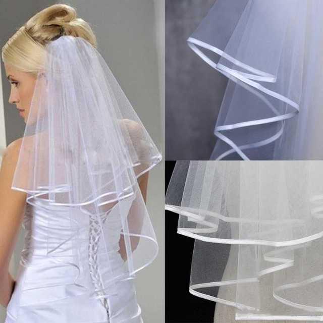 Nouveau deux couches ruban bord court mariage voile peigne blanc 2 couches mariée voile accessoires de mariage