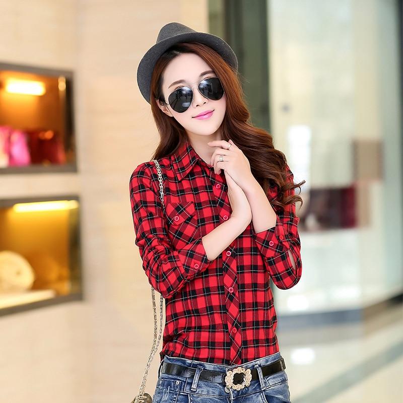 Autumn Spring Blouses Fashion Turn Down Collar Cotton Tops Women's Plaid Shirt Office Work Slim Long-Sleeve Shirts Blusas Mujer 8