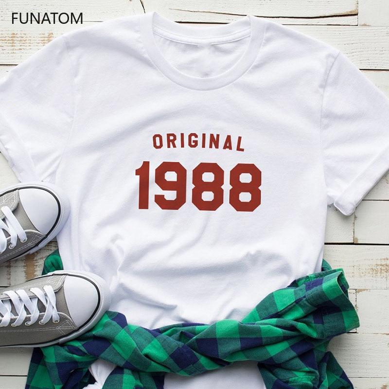 Fashion Short Sleeve Women TShirt 1988 1989 Printed Cotton Top Tees Casual O Neck T-Shirt Unisex TShirt