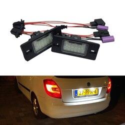 Led SMD numer oświetlenie tablicy rejestracyjnej lampa dla Skoda Fabia MK1 6Y CAN-bus żarówki Led białe źródło Led samochodu