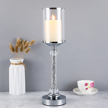 Europe Style Metal Crystal Diamond Candlestick Candle Holder Coffee Dining Table Wedding Christmas Halloween with Cover CH148 1