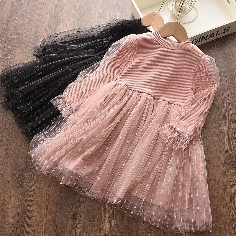 Primavera/outono 2021 para meninas vestido de manga comprida saia de princesa para crianças