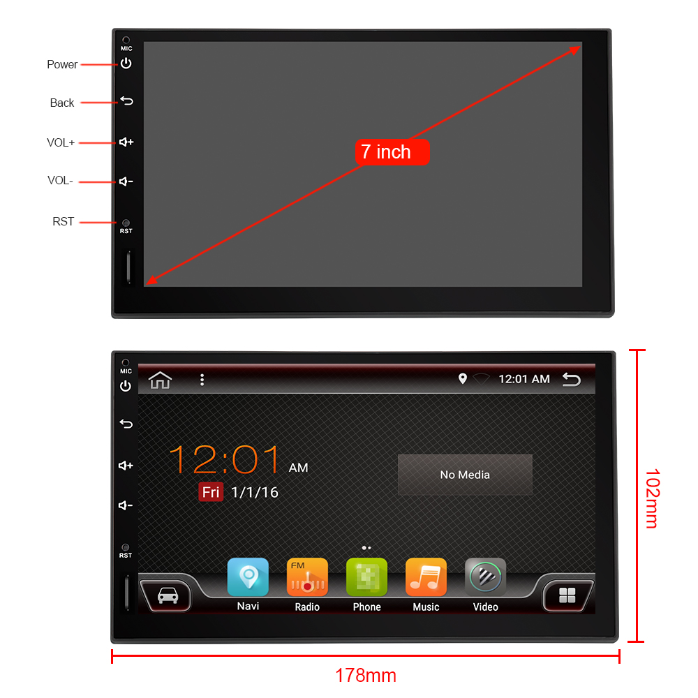 Eunavi 2 Din 7'' android 9 steuergerät auto radio stereo multimedia universal 2DIN GPS NAVIGATION Ips TDA7851 touchscreen subwoofer