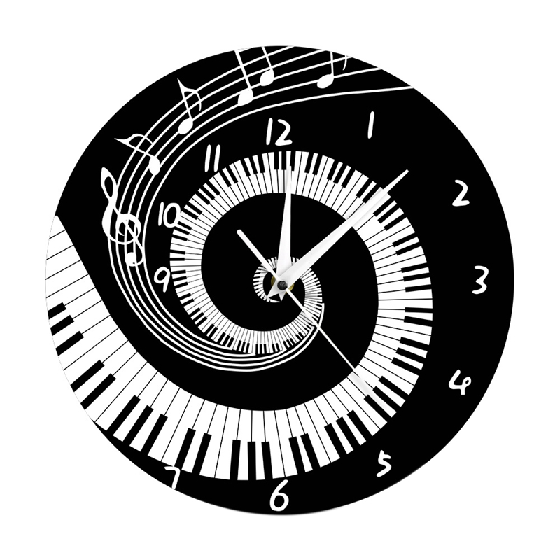 Elegant Piano Key Clock Music Notes Wave Round Modern Wall Clock Without Battery Black + White Acrylic