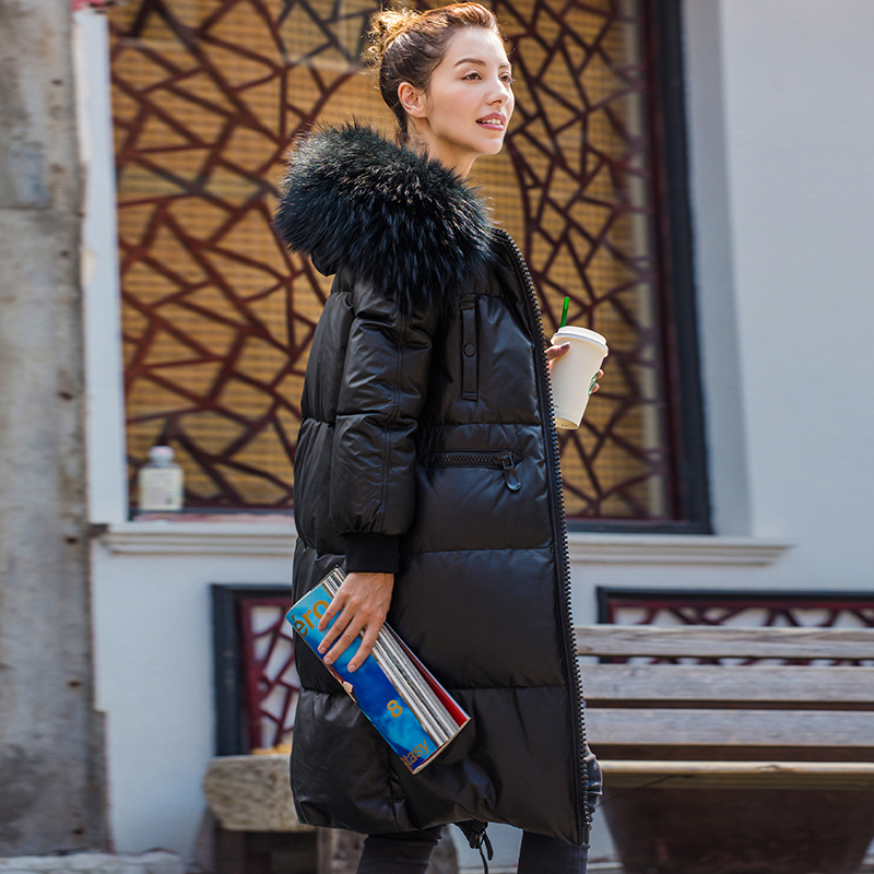 Genuine Jacket Women Sheepskin Leather Reccoon Fur Collar Down Coat Winter Warm Thick Outwear K162642 MF423