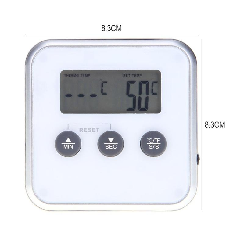 Electronic Thermometer Timer Food Meat Temperature Meter Gauge with Probe Cooking BBQ Thermometer Kitchen Temperature Tools 6