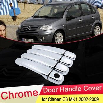 for Citroen C3 MK1 2002 2003 2004 2005 2006 2007 2008 2009 Chrome Door Handle Cover Trim Catch Car Set Cap Styling Accessories