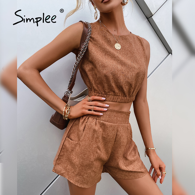 Simplee Casual Brown Women's Two-piece Suits High Street Solid Sleeveless Short Top Shorts Sets Summer Office Ladies Suits 2021 1