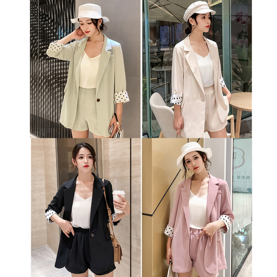 Summer Korean-style Thin Casual Small Suit Best Friend-Sun-resistant Tops Shorts Two-Piece Set