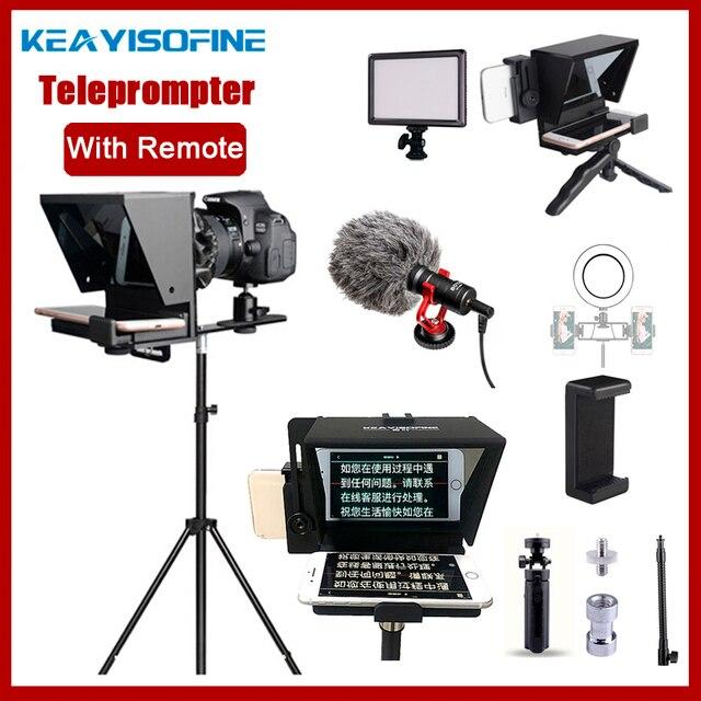 Taşınabilir Mini Teleprompter için telefon DSLR kayıt canlı yayın mobil Teleprompter artefakt Video uzaktan kumanda ile VS T1