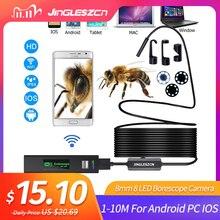 WIFI Camera Nội Soi HD 1 10M Mini Chống Nước Dây Cứng Không Dây 8Mm 8 Đèn LED Borescope Camera Cho android PC IOS Camera Nội Soi