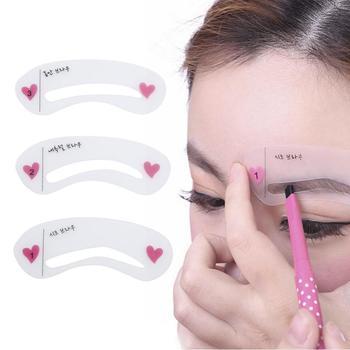 3 sztuk wielokrotnego użytku brwi Gguide karty szablon do brwi narzędzia do makijazu tanie i dobre opinie CN (pochodzenie) Eyebrow Stencils 3pcs set 8 4 x 2 5 cm (L x T) Wholesale Dropshipping