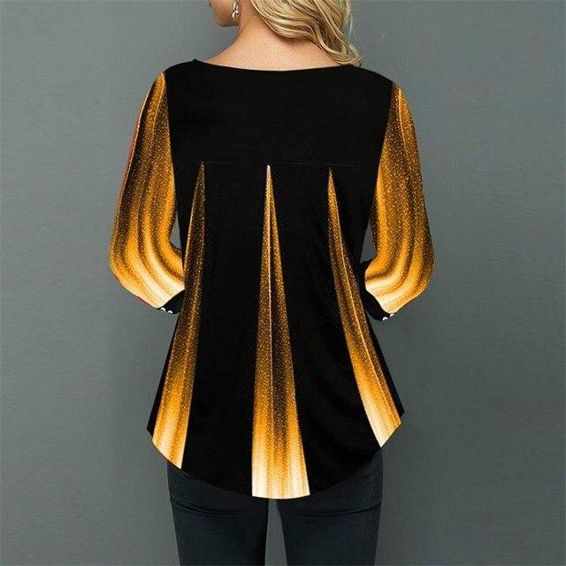 Shirt Women Spring Summer Blouse 3/4 Sleeve Casual 3D Gradient Printing Female Fashion Shirt Tops Plus Size 5XL StreetShirt 4