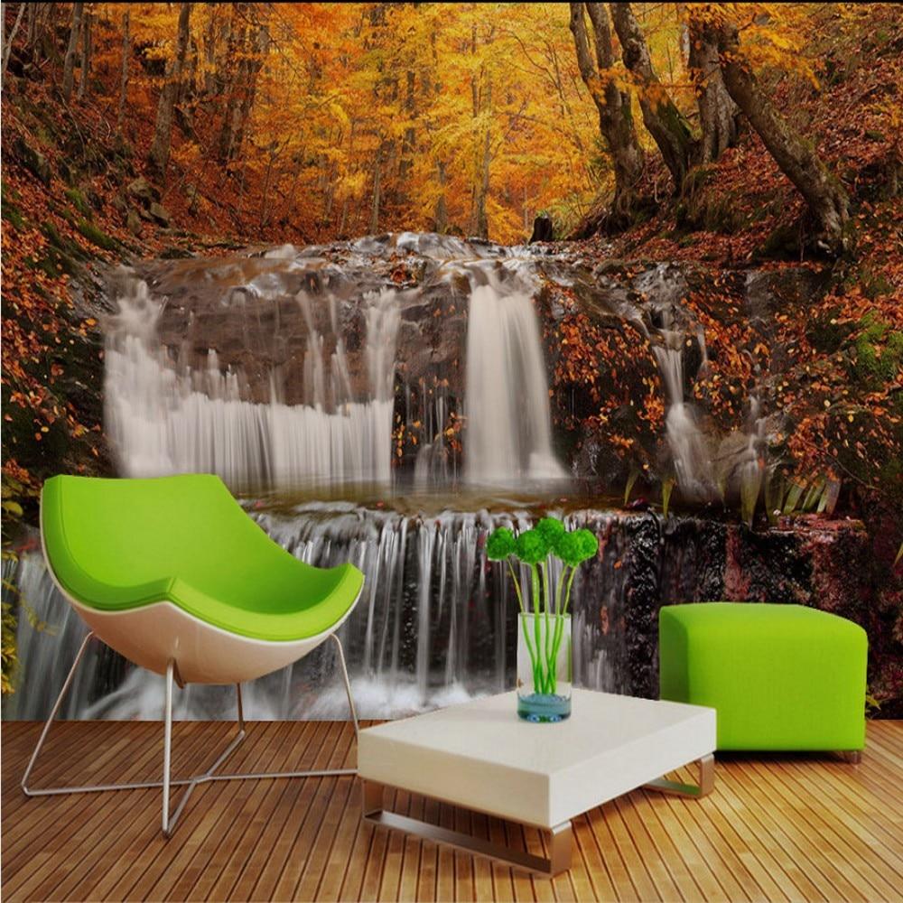 Drop Shipping Custom 3d Mural Beautiful Golden Autumn Water Falls TV Background Wallpaper Botanical Wallpaper For Living Room