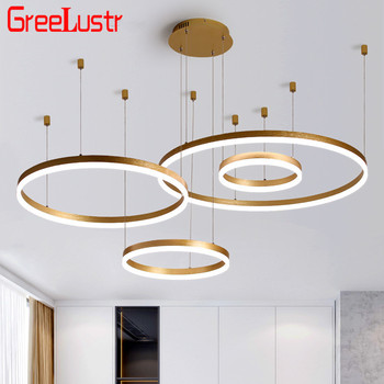 Modern Circel led Chandelier Light Fixture Rings Design Nordic Gold/Coffee Hanging Lamp Dimming Withe remote Led Lustres luxury diamond led chandelier crystal lamp modern crystal light fixture circle hanging lustres led decorate luminaire home light