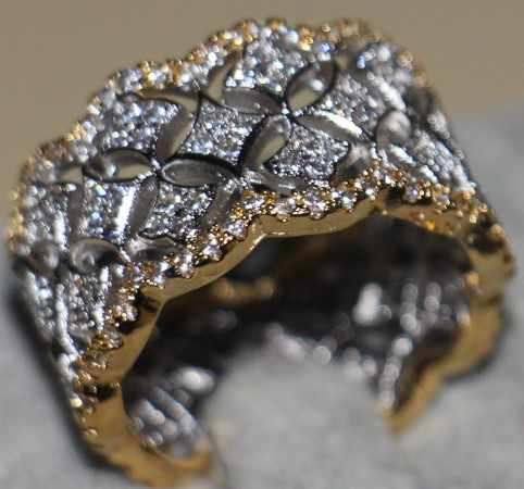 Pave set luxury AAAAA zircon CZ Gold Stars 925 sterling silver Engagement Wedding Band Ring for women jewelry Drop Shipping
