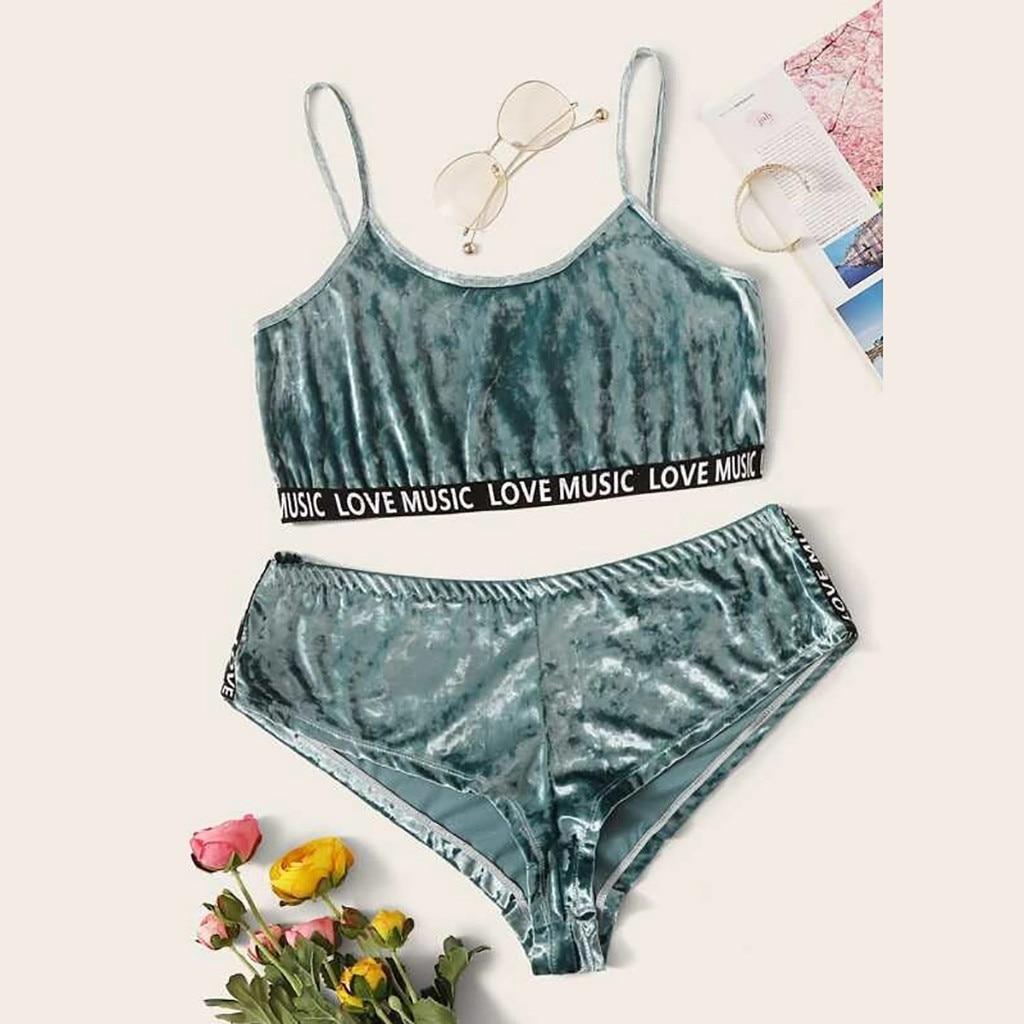 Plus Size 4XL Women's Velvet Pajamas Set Sexy Lingerie Sleepwear Slips Nightwear Sexy Underwear Letter Printing Pyjamas Homewear
