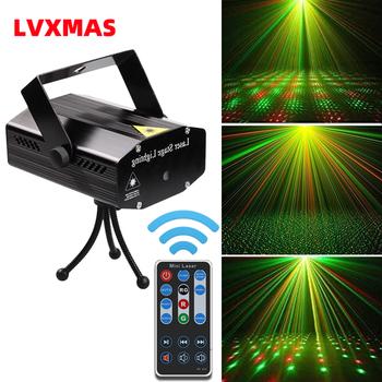 Lvxmas oświetlenie dyskotekowe LED projektor laserowy 5W 110V ~ 220V sterowanie głosem kontroler DJ laserowe oświetlenie sceniczne na nowy rok urodziny tanie i dobre opinie CN (pochodzenie) Efekt oświetlenia scenicznego Mini Domowa rozrywka