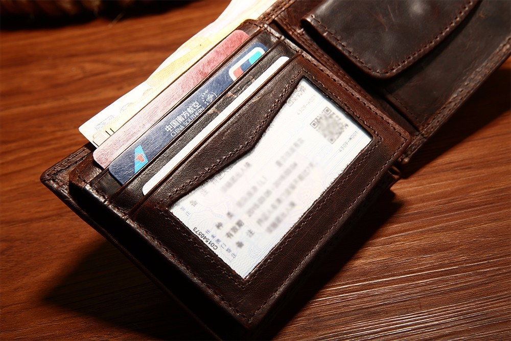 Hb1df231862b14171b8366698f4aaa768O - GENODERN Cow Leather Men Wallets with Coin Pocket Vintage Male Purse Function Brown Genuine Leather Men Wallet with Card Holders