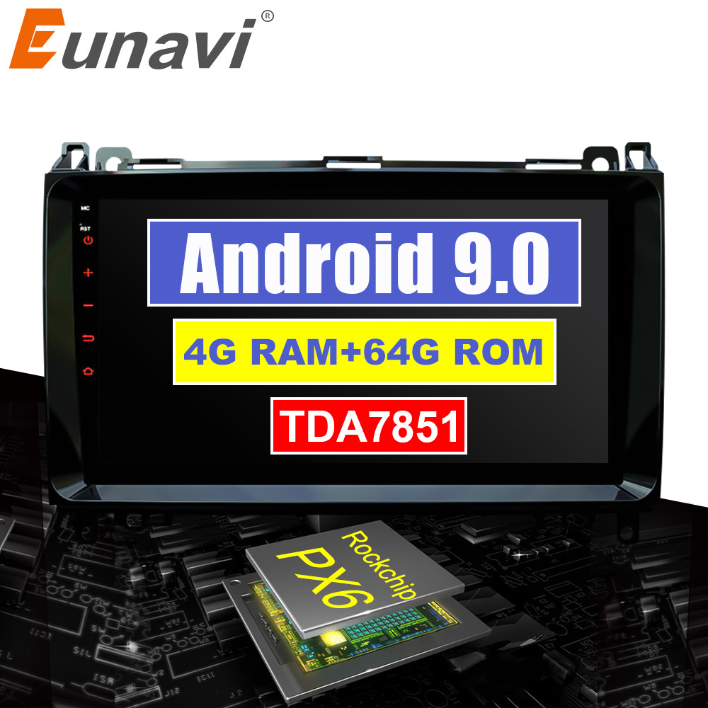 Eunavi 2din Car radio For <font><b>Mercedes</b></font> Benz B-class B200 Sprinter Viano Vito <font><b>B180</b></font> <font><b>GPS</b></font> Android 9.0 Automotivo multimedia IPS TDA7851 image